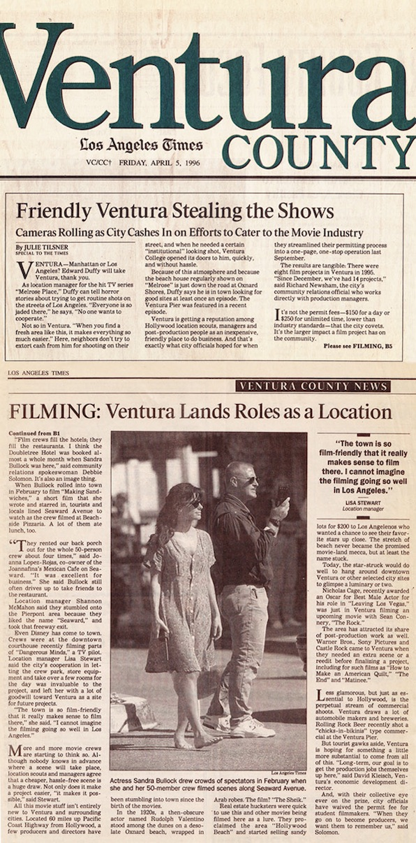 Friendly Ventura Stealing the Shows, LA Times, 1996